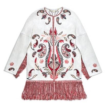 Kayla Embroidered Fringe Coat