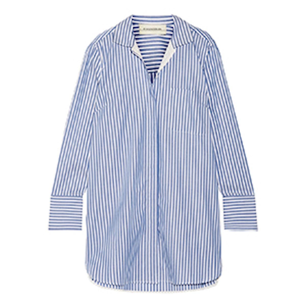 Anafrina Silk-Trimmed Striped Cotton-Poplin Shirt