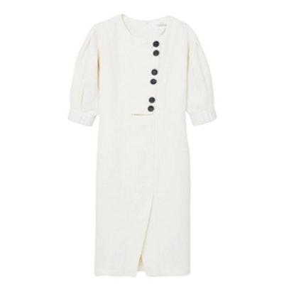 Linen-Blended Midi Dress