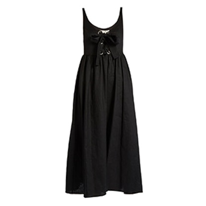 Lace-Up Midi Linen Dress