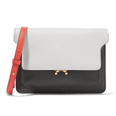 Trunk Color-Block Textured-Leather Shoulder Bag