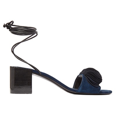 Riza Leather-Trimmed Appliquéd Suede Sandals