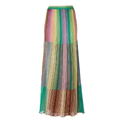 Long Metallic Knit Stripe Skirt