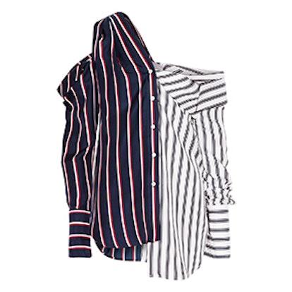 Cold-Shoulder Striped Silk-Satin Shirt