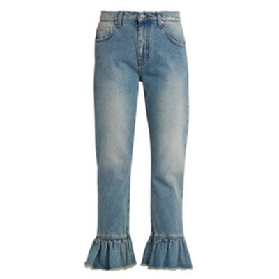 Ruffled-Hem Cropped Jeans