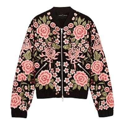 Embroidered Embellished Crepe Bomber Jacket