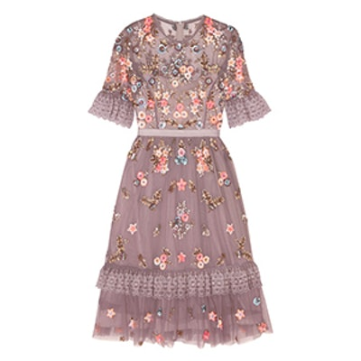 Embellished Embroidered Tulle Dress