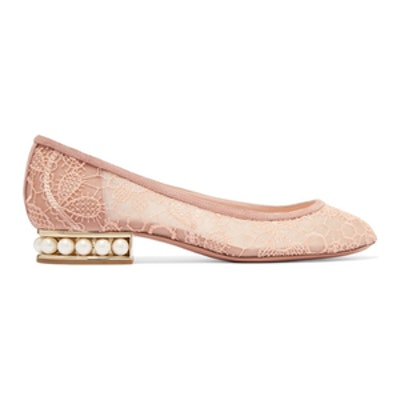 Casati Faux Pearl-Embellished Lace Ballet Flats