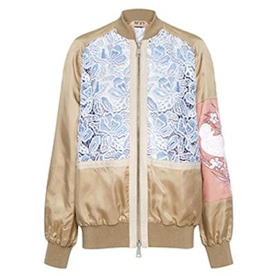 Lace-Inset Bomber Jacket