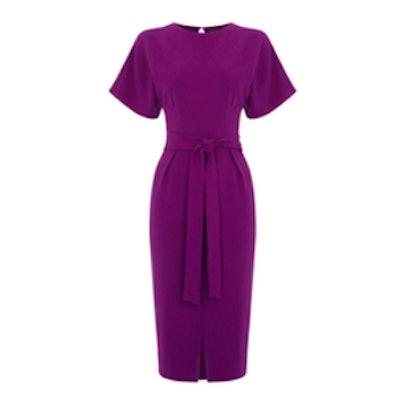 Drape Belted Wiggle Dress