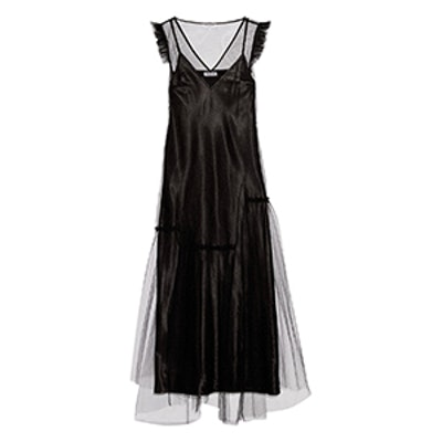 Ruffle-Trimmed Tulle Maxi Dress
