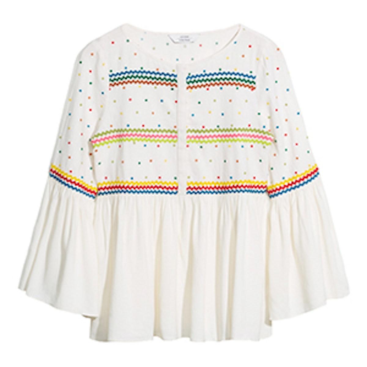 Linen-Blend Rik Rak & Embroidered Blouse