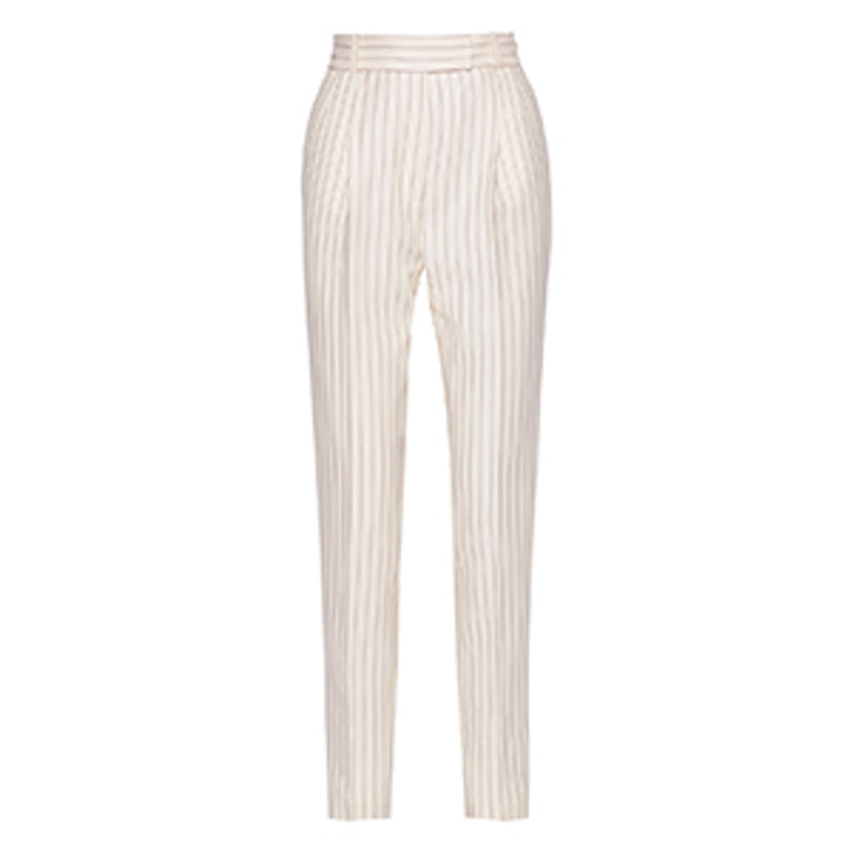 Ariel Pinstriped Grain de Poudre Wool Straight-Leg Pants