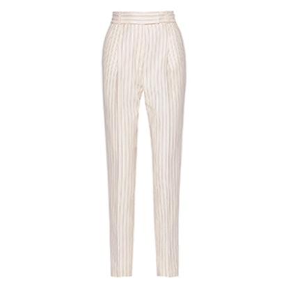 Ariel Pinstriped Grain de Poudre Wool Straight-Leg Pants