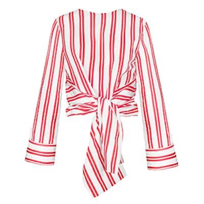 Red Stripe Front Tie Shirt
