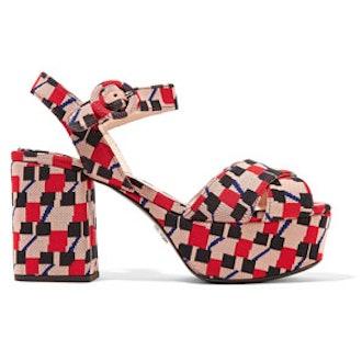 Jacquard Platform Sandals
