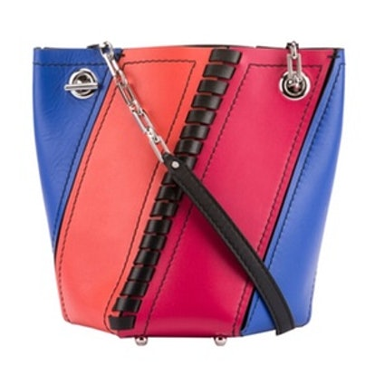 Hex Mini Colorblock Leather Bucket Bag