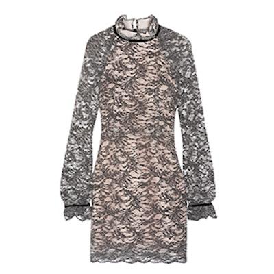 Alexa Velvet-Trimmed Corded Lace Mini Dress