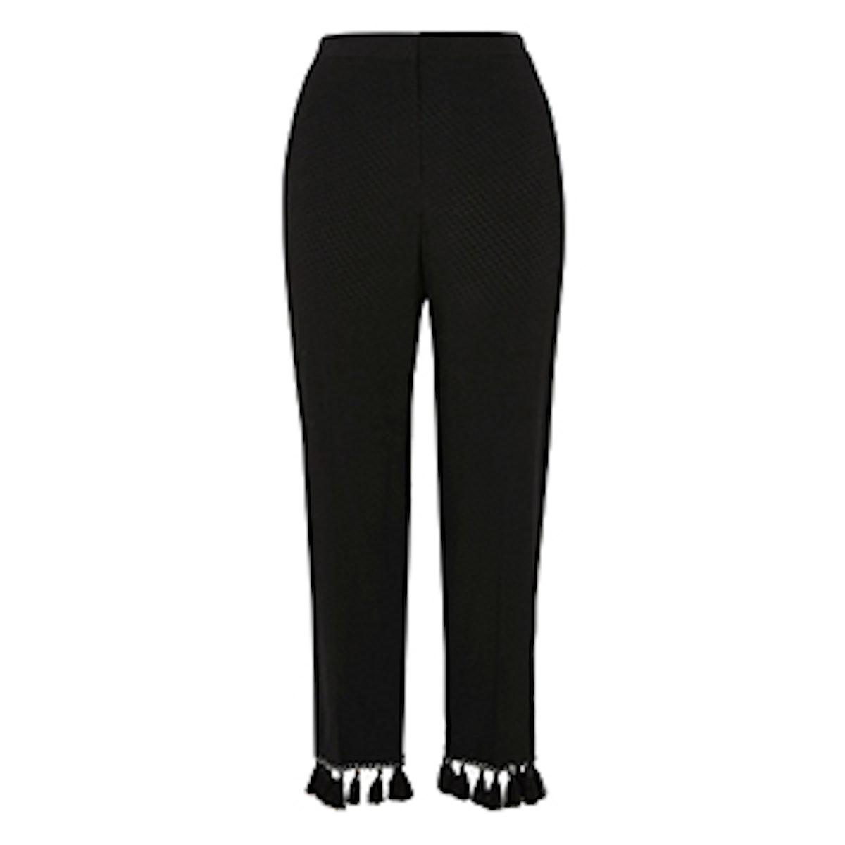 Jacquard Tassel Cropped Pants