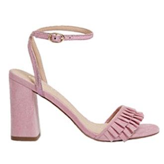 Pink Frill Strap Block Heel Sandals