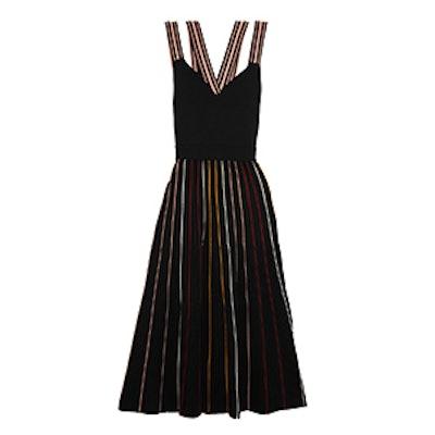 Shiori Striped Ribbed Stretch-Knit Dress