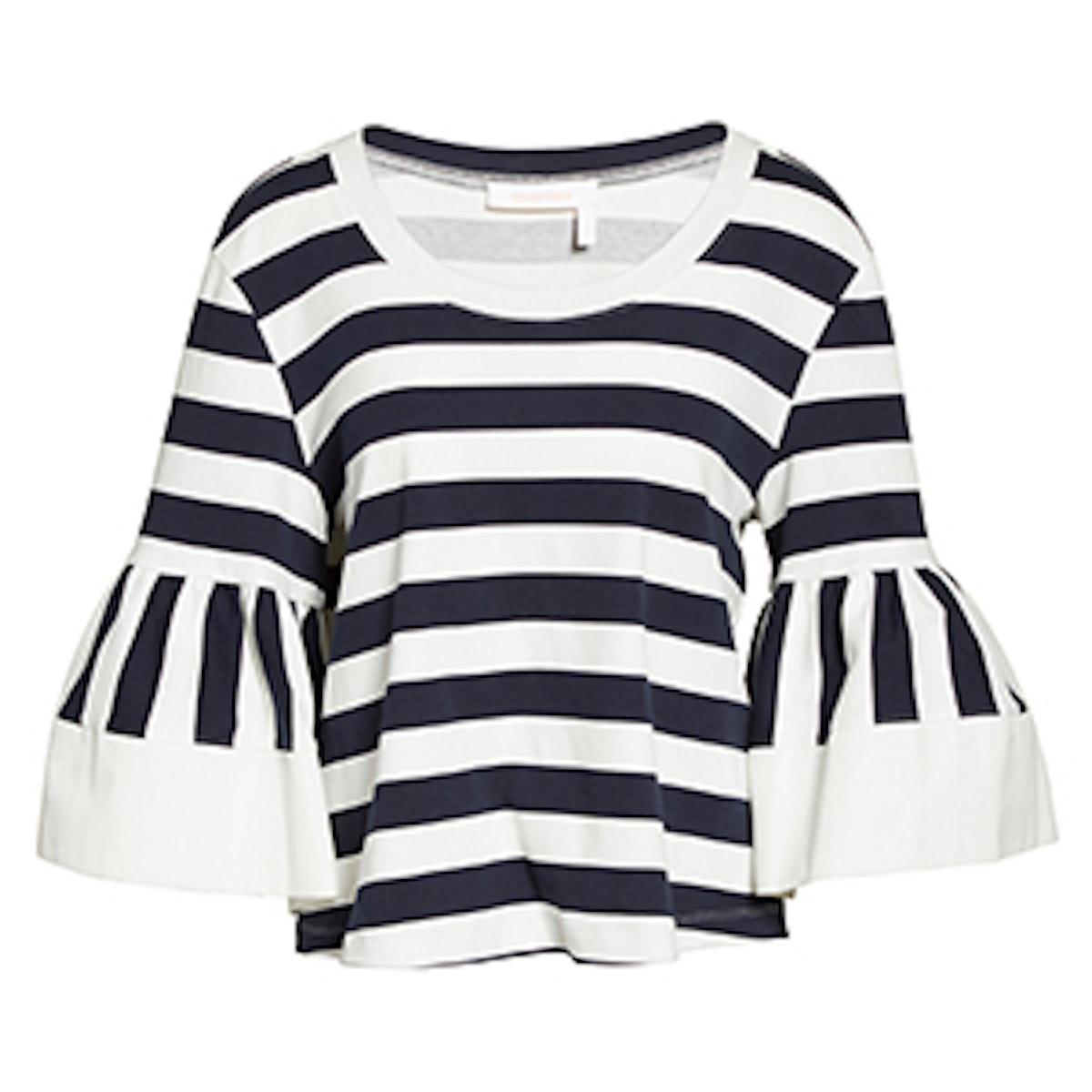 Stripe Jersey Bell Sleeve Top