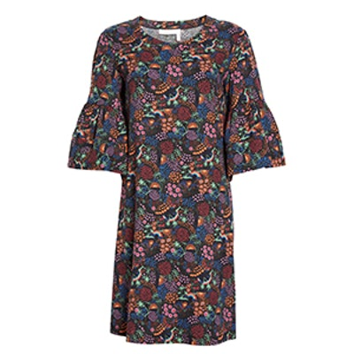 Micro Vegas Print Bell Sleeve Dress