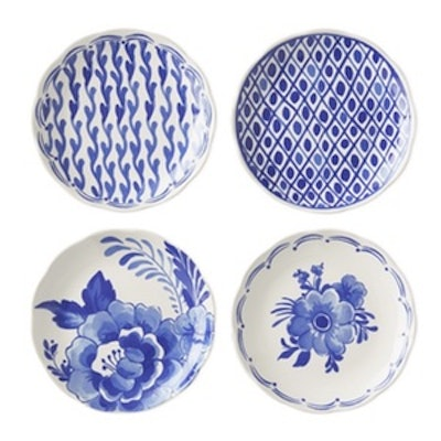 AERIN Sea Blue Appetizer Plates, Set of 4