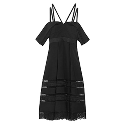 Cold-Shoulder Lace-Trimmed Crepe Midi Dress