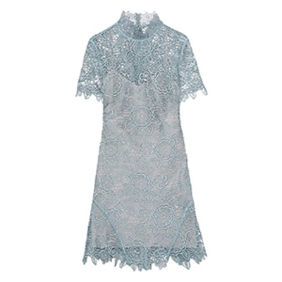 Open-Back Guipure Lace Mini Dress