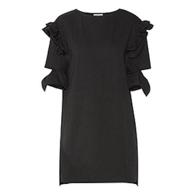 Cutout Ruffled Cotton-Terry Mini Dress