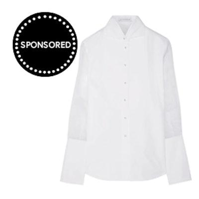 J.W. Anderson Tulle-Paneled Cotton-Poplin Shirt