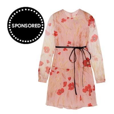 Valentino Floral-Print Silk-Chiffon Mini Dress