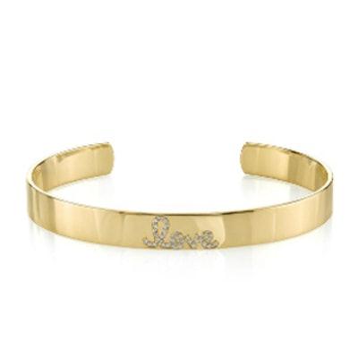Gold & Diamond Love Cuff