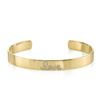 Gold & Diamond Love Cuff
