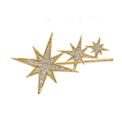 Gold & Pave Diamond Triple Starburst Ear Wire