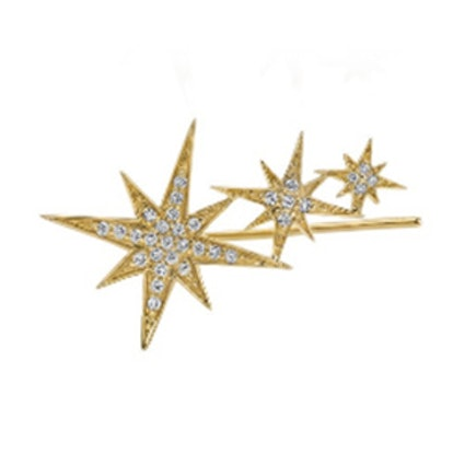 Gold & Pave Diamond Triple Starburst Ear Wire