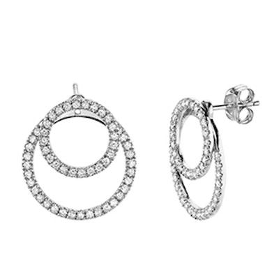 White-Gold & Diamond Circle Studs With Circle Jackets