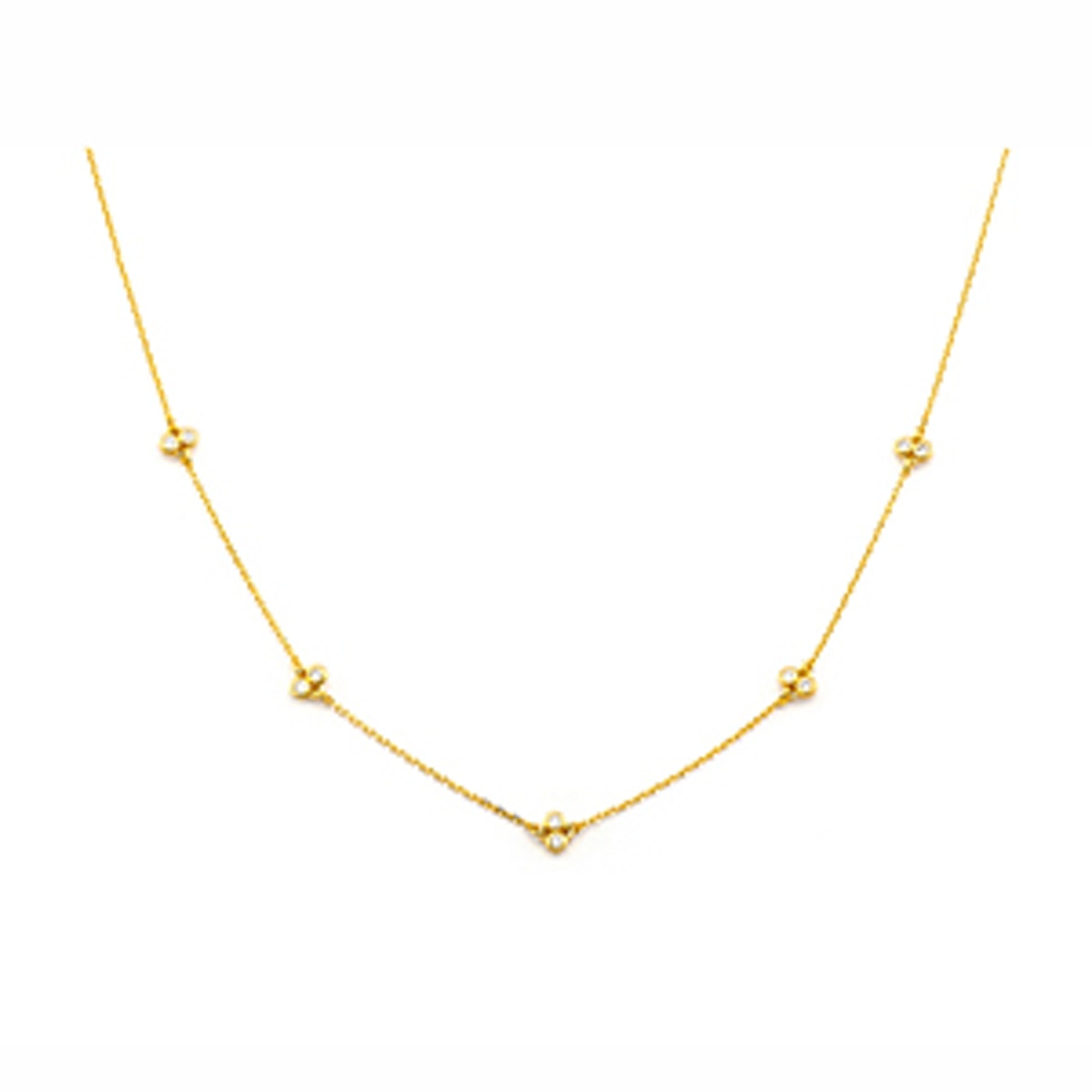 Simple Chain Necklace With Stationed CZs