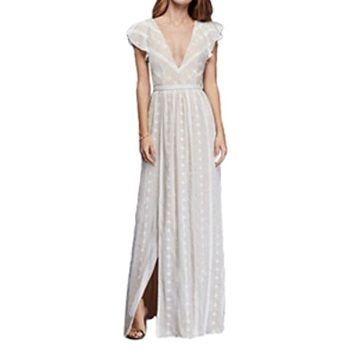 Embroidered Chiffon Dress With Plunging Neckline
