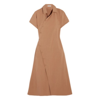 Cotton-Blend Poplin Wrap Dress