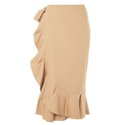 Cotton Frill Midi Skirt