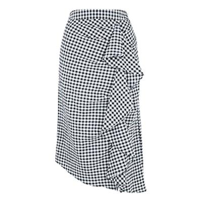Gingham Ruffle Midi Skirt
