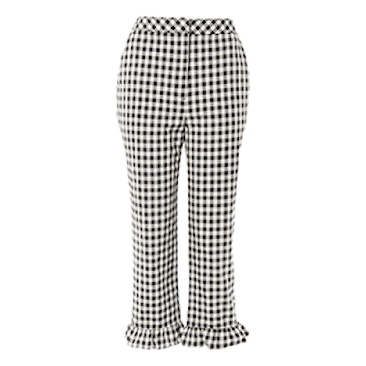 Gingham Frill Hem Trousers