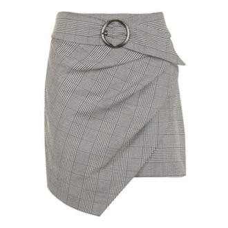 Wrap Belt Check Skirt