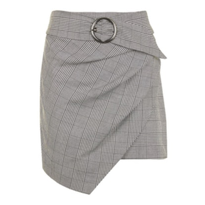 Wrap Belt Check Skirt