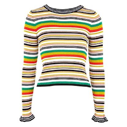Hyper Stripe Knitted Crop Jumper