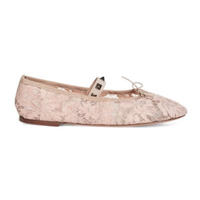Rockstud Lace Ballet Flat