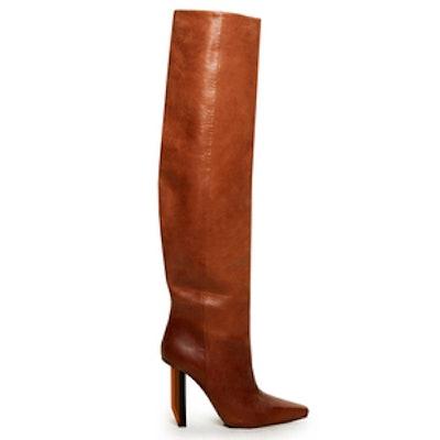 Reflector-Heel Knee-High Boots