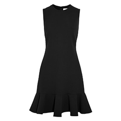 Ruffle-Trimmed Crepe Mini Dress
